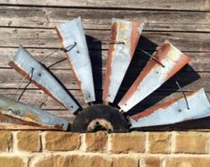 Metal Windmill farmhouse decor 30 inch round by Weatheredfinishes