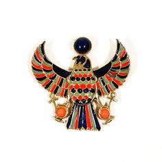 DESCRIPTION Accessocraft NYC Winged Falcon Statement Brooch/Pendant This fabulous rare find can be worn as Statement Necklace or Brooch Beautiful Bold Colors adorn this Mogul Style Piece Set in Gold T