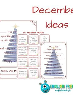 December Ideas for Lessons - englishfreak. Let Them Talk, Worksheets, December, Films, Presents, Sparkle, Seasons, Games, Winter
