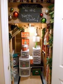 A Christmas closet in an unfinished basement closet...I have one of these, I think I am going to do this! :D