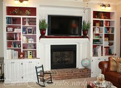 diy fireplace surround to hide flat screen wiring, cables, cords etc.