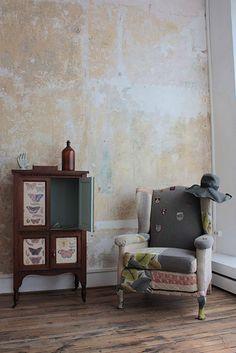 walls. chair.