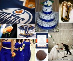 Even though we're not Oilers fans, this is a really great way to incorporate hockey into your wedding in a classy way!