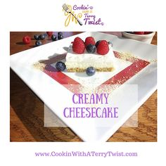 """Your Solution to """"What Should I Make for Dessert This Fourth of July""""? Bring this easy to make, easy to take, Red White & Blue Creamy Cheesecake to a potluck or serve it to your friends or family. Throw a sparkler or two on top for fun. Your dessert will be the highlight of the party!http://cookinwithaterrytwist.com/2016/06/creamy-cheesecake/"""