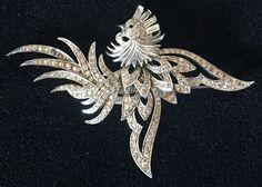 Vintage Art Deco MB Boucher Phoneix Bird Pin Signed MB 2547 #Boucher