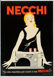Necchi poster.  This is, of course, what I look like when I sew.