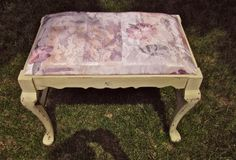 Vintage bench shabby chic upholstered chalk by OverboardStudio, $65.00