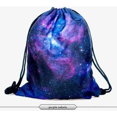 Printed Drawstring Backpack Bag Purple Nebula ($10) ❤ liked on Polyvore featuring bags, backpacks, black, drawstring knapsack, drawstring backpack, black bag, purple backpack and black backpack