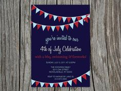 4th of July BBQ Party invitation July 4th Invitation Fourth of