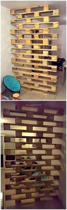 Palette Room Divider that would be good to have a family room transformed into a basement . Tattoo - diy pallet creations - Palette Room Divider that would be good to have a basement turned into a family room tattoo - Pallet Sofa, Pallet Furniture, Upcycled Furniture, Furniture Ideas, Pallet Walls, Pallet Benches, Pallet Shelves, Furniture Makeover, Pallet Stairs