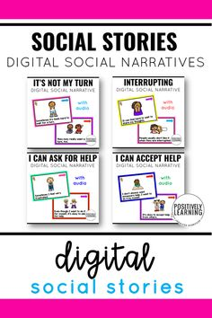 Now you can LISTEN to a supportive social story! Back to School Themes - these short social narratives target important topics such as interrupting, asking for help, letting others help us, and coping when it's not your turn. Tough subjects made easier with these child-friendly ebooks.