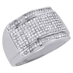 10K White Gold Diamond Pave Mens Pinky Ring Domed Round Cut 0.51 Cttw. Men's Gold Diamond Pinky Ring. Item in image is smaller than it appears. It is enlarged to show details. Picture on hand will give a very good idea of true size. Available in size 10, We do offer sizing. Round Cut with pave Setting. 10K White Gold, I1-I2 Clarity, H - I Color, Approximately 3.5 grams. Comes with Appraisal Certificate (insurance purpose) and Gift Box, 100% satisfaction guaranteed. 30 Day Returns.