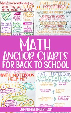 Math Anchor Charts to Start the Year Math anchor charts for back to school! Start your year off on the right foot with these math charts that introduce expectations and norms for math class. Math Charts, Math Anchor Charts, Fifth Grade Math, Math Notebooks, Math Workshop, Math Classroom, Classroom Posters, Classroom Ideas, Guided Math