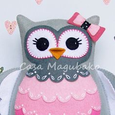 Felt Owl Pincushion Digital Pattern - PDF File - Owl Soft Toy - Owl Ornament