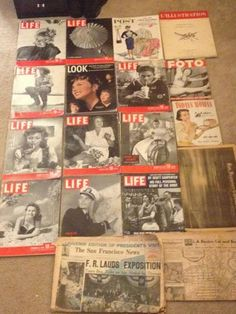 """""""calebrepchuk:  My Collection of Vintage Life magazines and newspapers From the 30's- 50's. I'm In love with them. Rita Hayworth on one of the covers.   """""""