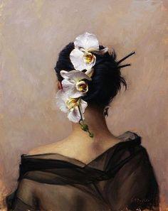 Grace Mehan De Vito, Cascading Orchid, oil on canvas, 51x41 cm