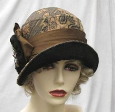 1920s Style Fashion Hat in Brown Tapestry