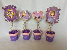 Sofia the First Centerpieces by MegansPartyWorkshop on Etsy Sofia The First Birthday Party, Pink And Gold Birthday Party, Baby 1st Birthday, 3rd Birthday Parties, Themed Parties, Birthday Ideas, First Birthday Centerpieces, First Birthdays, Nick Jr
