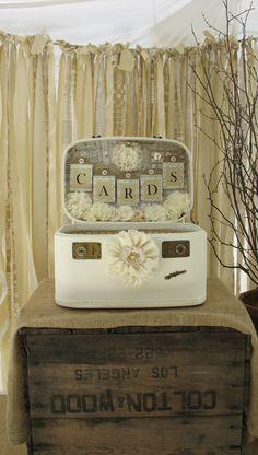 Vintage Suitcase Wedding Card Box Wedding Card Holder Wedding Decoration Ivory Off White Creme Etsy.