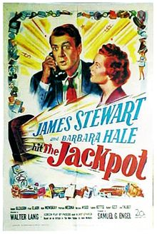 """The Jackpot is a 1950 American comedy film directed by Walter Lang with James Stewart and Barbara Hale in the lead roles. It features a young Natalie Wood.  The screenplay was based on a John McNulty article, """"The Jackpot"""" in The New Yorker (February 19, 1949), about the true experiences of James P. Caffrey of Wakefield, Rhode Island who won 24,000 worth of merchandise on August 28, 1948 from the CBS radio quiz program, Sing It Again."""