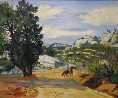 Yves BRAYER (1907-1990) « Paysage de Provence aux cavaliers ». Huile sur toile signée en bas à droite et titrée au dos. 46 x 54,8 cm. - Sophie Himbaut - 17/03/2017