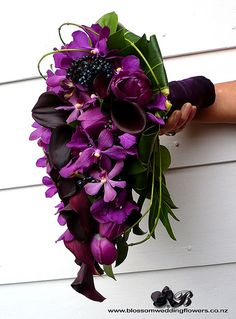 Callas, tulips, orchids, berries, & vines wrapped in dark purple satin.... love this