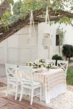 Pink and white striped tablecloth
