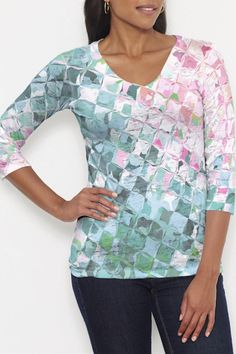 Fun abstract printed T by Whimsy Rose.  V-neck 3/4 slv tee in casual and supremely soft Signature burnout blend is a best-selling collectible! A relaxed fit falls at the hip. Sizes XS-XL. Care: Wash cold water. Tumble dry medium. American Made. Crackle Teal T by Whimsy Rose. Clothing - Tops - Tees & Tanks Hawaii