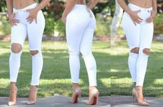 There is 0 tip to buy shoes, beige high heels. Help by posting a tip if you know where to get one of these clothes. Beige Top, White Beige, Denim Leggings, Denim Jeans, Simple Outfits, Cute Outfits, Best White Jeans, Beige High Heels, Jeans With Heels