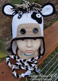 Crochet Cow Earflap Hat $30 - Available in other styles. www.facebook.com/MistyFrostHR