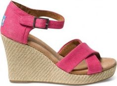 NEW IN BOX TOMS SHOES PINK HEMP WEDGE SIZE 6.5 RARE