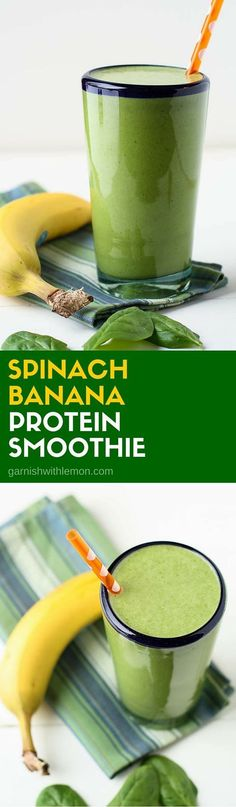 Start your day on the right foot with a healthy, filling breakfast. This Spinach Banana Protein Smoothie recipe will keep you going until lunch! ~ www.garnishwithle...