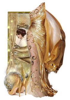 """""""Golden evening dress"""" by fashionrushs ❤ liked on Polyvore featuring Zuhair Murad and Gianvito Rossi"""