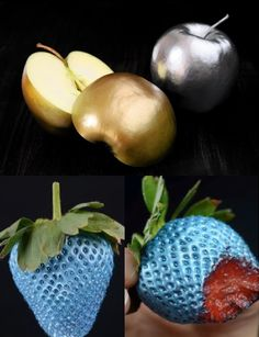 Edible Spray Paint from Dude I Want That - I am imagining shimmering blue, purple and silver fruits, nuts, and candies.