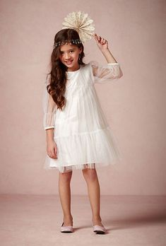 Brides: A White Tulle and Taffeta Flower Girl Dress Perfect for a Summer Wedding