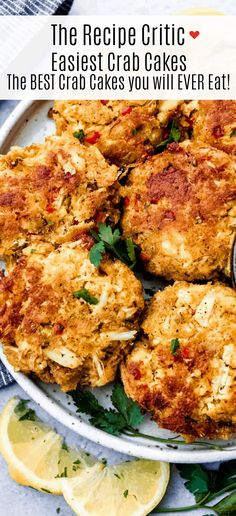 Easiest crab cakes are filled with thick chunks of crab meat mixed together with creamy mayonnaise, sweet red bell pepper and end with a kick of red pepper flakes. The perfect sweet and salty crab cake appetizer recipe! Stew Meat Recipes, Hamburger Meat Recipes, Cooking Recipes, Easy Meat Recipes, Seafood Appetizers, Appetizer Recipes, Dinner Recipes, Crab Cake Recipes, Fish Recipes