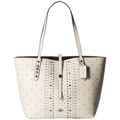 COACH Bandana Rivets Market Tote (DK/Chalk) Tote Handbags ($495) ❤ liked on Polyvore featuring bags, handbags, tote bags, pocket purse, coach handbags, tote handbags, white tote bag and pocket tote