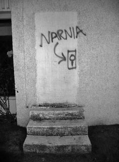 Yet another entrance to Narnia! Every morning just before I open my closet door, I entertain a (now) not-so-secret hope. Narnia Graffiti in Vancouver, Canada. Tachisme, Banksy, Tumblr Soft, Street Art Graffiti, Street Art Quotes, Graffiti Quotes, Graffiti Lettering, Graffiti Artists, Urban Art