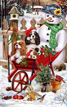 Shop for Cards - Cavalier King Charles Spaniel - Cavalier (tri & Blenheim) Snowflakes & Snowbirds