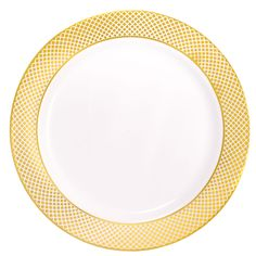 Plastic 10 1/4 Inch White Dinner Plate with Gold Diamond Band/Case of 120 Tags:  Dinner Plates; Diamond Collection; disposable Dinner Plates;plastic Dinner Plates;catering Dinner Plates;wedding Dinner Plates;;; https://www.ktsupply.com/products/32813350124/Plastic-10-14-Inch-White-Dinner-Plate-with-Gold-Diamond-BandCase-of-120.html
