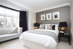 Серый в интерьере спальни
