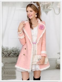 Morpheus Boutique  - Pink Hem Double Breasted Lovely Long Sleeve Coat, CA$164.09 (http://www.morpheusboutique.com/pink-hem-double-breasted-lovely-long-sleeve-coat/)