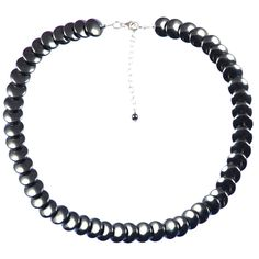 HEMATITE SMALL BUTTON NECKLACE    Hematite and sterling silver necklace.    Cute button necklace that works well with any outfit. Matching items available.  ...  Colour: Black/Grey    Size: 40.5cm    £47.50     http://www.gemjewelleryshop.com/product-information/36/389/hematite-small-button-necklace/