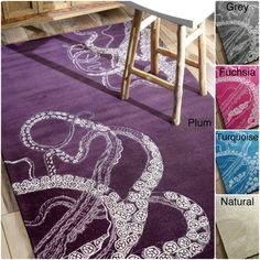 @Overstock - nuLOOM Handmade Octopus Tail Faux Silk / Wool Rug - Add a bold look to your home with this richly patterned handmade wool area rug. The impressive design lends visual interest to any room, while the generous pile provides comfort underfoot. Choose from five strikingly dramatic colors.  http://www.overstock.com/Home-Garden/nuLOOM-Handmade-Octopus-Tail-Faux-Silk-Wool-Rug/7521603/product.html?CID=214117 $299.99