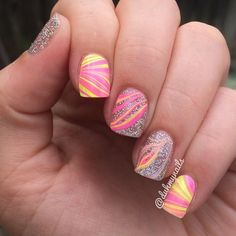 Pink and yellow watermarble mani ===== Check out my Etsy store for some nail art supplies https://www.etsy.com/shop/LaPalomaBoutique