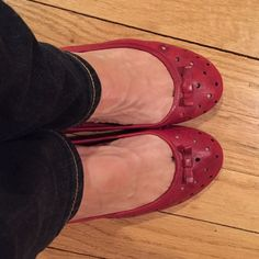Weekend Sale LOFT Red Leather Flats So cute and girlie!  Perforated leather keep your feet cool, while staying stylish.  Worn, but still in very good condition.  Size 7, fit true to size. LOFT Shoes Flats & Loafers