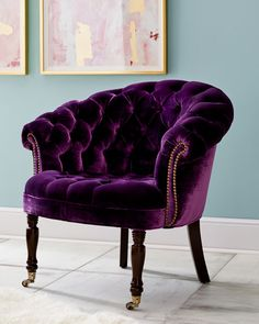 Shop Purple Sausalito Chair from Haute House at Horchow, where you'll find new lower shipping on hundreds of home furnishings and gifts. Funky Furniture, Furniture Decor, Living Room Furniture, Living Room Decor, Furniture Design, Bedroom Decor, Luxury Furniture, Velvet Furniture, Wooden Furniture
