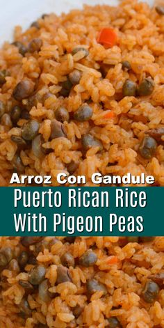 Puerto Rican Rice Recipe - Arroz Con Gandule (rice with pigeon peas) Flavorful dinner side dish with all the authentic flavors of the Puerto Rican Rice recipe! Make this rice recipe with simple ingredients right from your pantry! Authentic Mexican Recipes, Authentic Spanish Rice Recipe, Mexican Food Recipes, Vegetarian Recipes, Cooking Recipes, Authentic Puerto Rican Rice Recipe, Spanish Food Recipes, Best Spanish Rice Recipe, Mexican Desserts