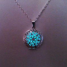 Aqua Glowing Necklace, Glowing Jewelry, Glow in the Dark Pendant , Gifts for Her, Valentines Day £11.50