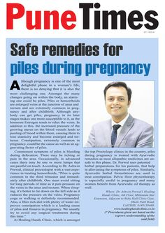 """An article """"#Safe #remedies for #Piles during #pregnancy"""" by Dr. #AshwinPorwal   published in #PuneTimes"""